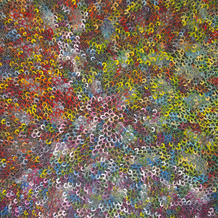 Anna Price Petyarre (Pitjara) Bush Yam Seeds Australian Aboriginal Art Painting on canvas AP1770