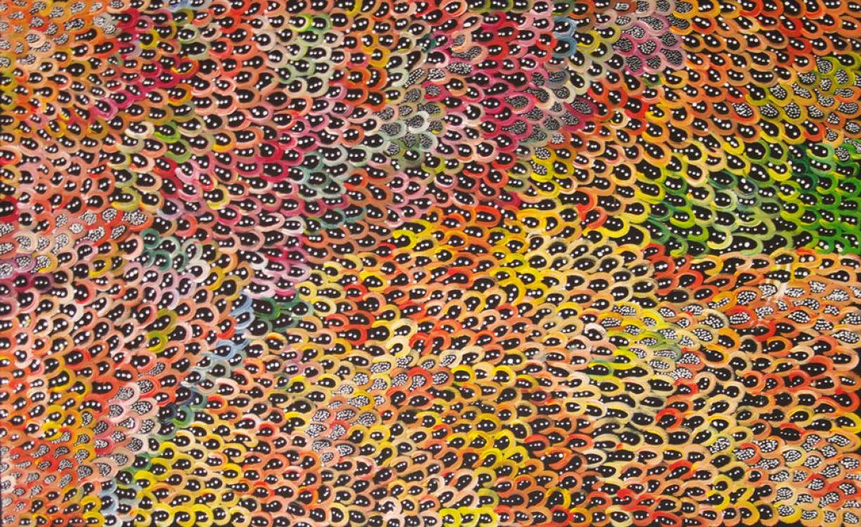 Anna Price Petyarre (Pitjara) Bush Yam Seeds Australian Aboriginal Art Painting on canvas AP1776