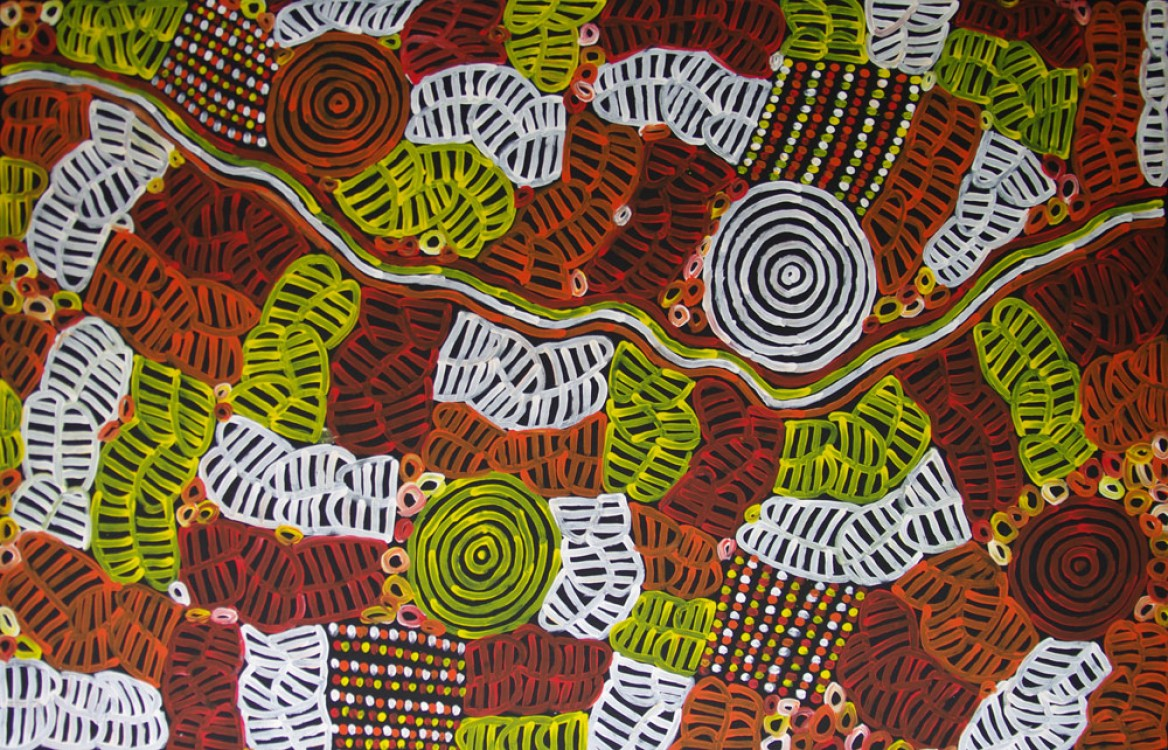 Betty Mbitjana Awelye and Bush Melon Australian Aboriginal Art Painting on canvas BM1825