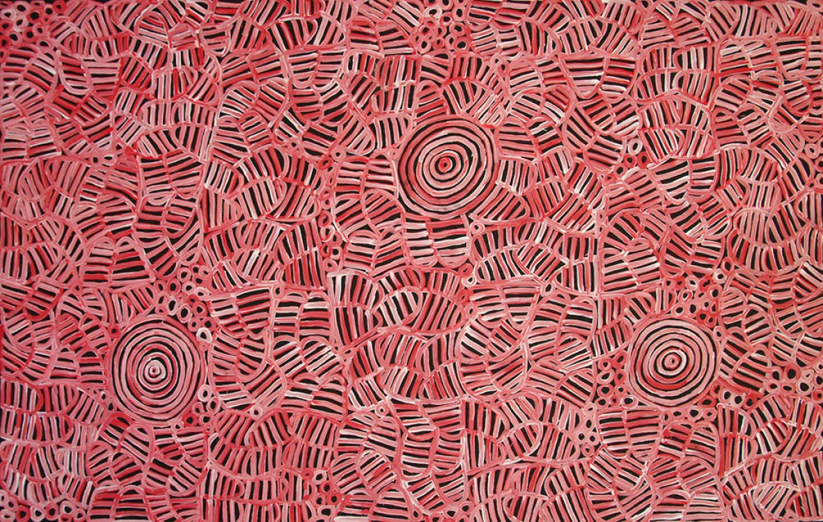 Betty Mbitjana Awelye and Bush Melon Australian Aboriginal Art Painting on canvas BM1828