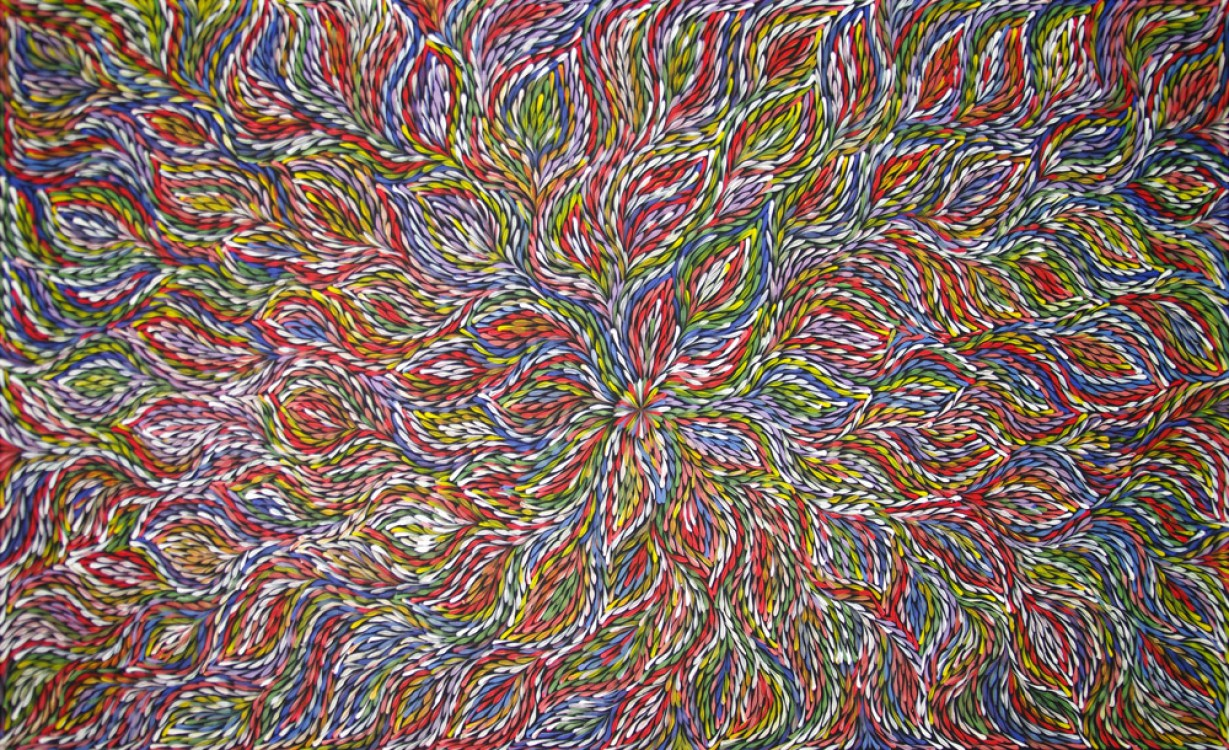 Janet Golder Kngwarreye Bush Leaves Australian Aboriginal Art Painting on canvas JG1805