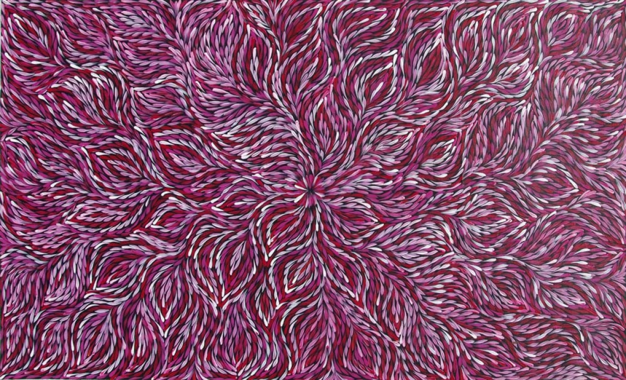 Janet Golder Kngwarreye Bush Yam Leaf Australian Aboriginal Art Painting on canvas JG1947