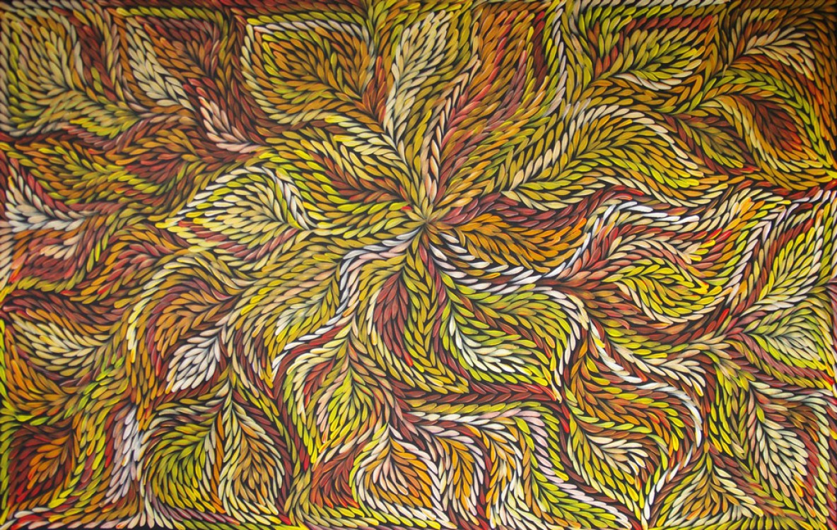 Jeannie Petyarre Bush Yam Flowers Australian Aboriginal Art Painting on canvas JP1710