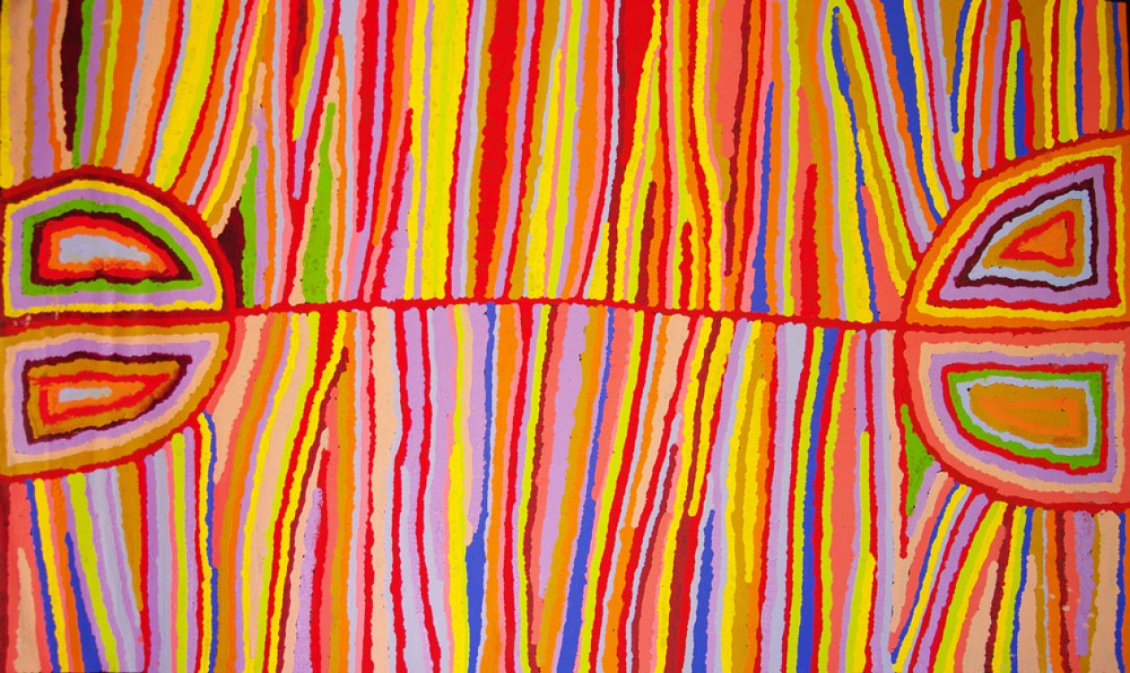 Judy Watson Napangardi Hair String Australian Aboriginal Art Painting on canvas JW1713