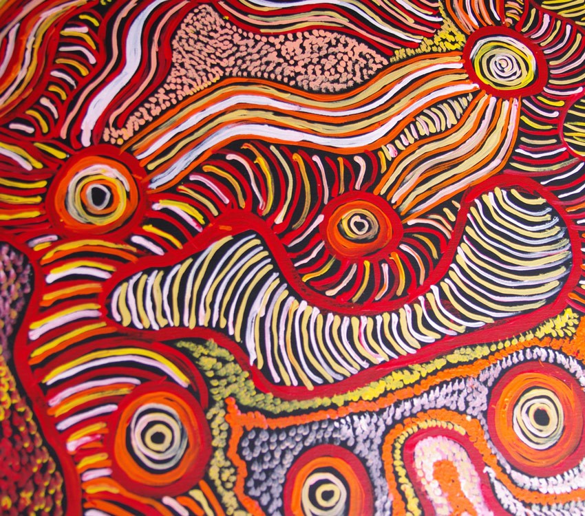 Aboriginal Art Painting on canvas by Patricia Baker Tunkin Minma Marlilu Tjukurrpa KB1746