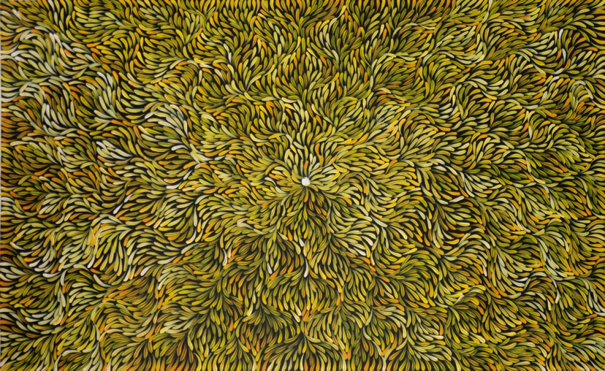 Mary Rumble Pitjara Bush Medicine Leaves Australian Aboriginal Art Painting on canvas MR1816