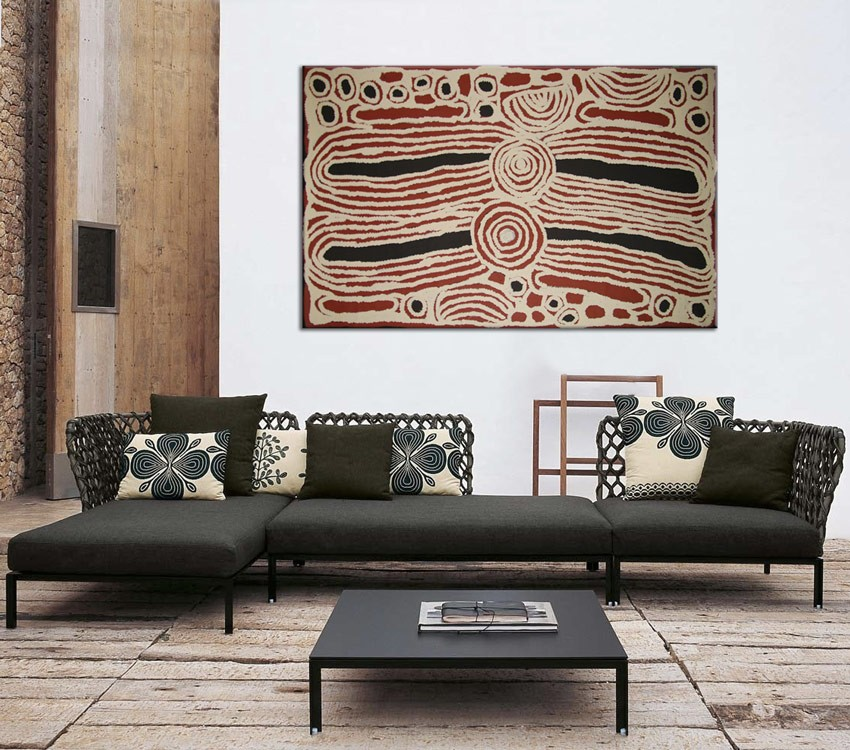 Women's Ceremony Ningura Napurrula Australian Aboriginal Artwork on canvas NN1723