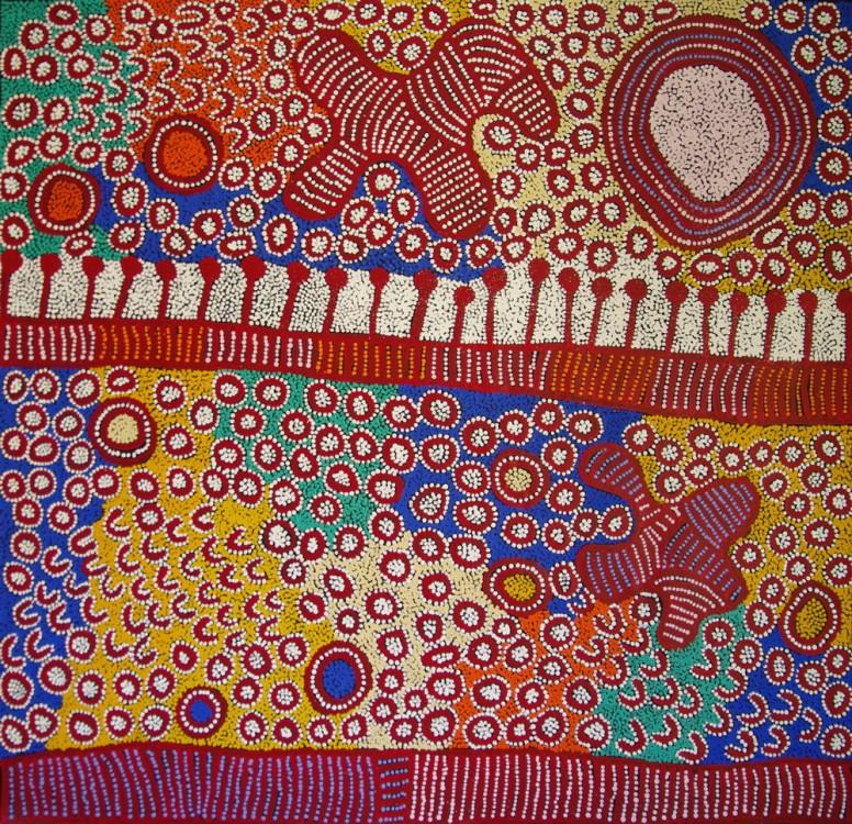 Yinarupa Gibson Nangala (Nungala) Ngaminya Australian Aboriginal Art Painting on canvas YN1749