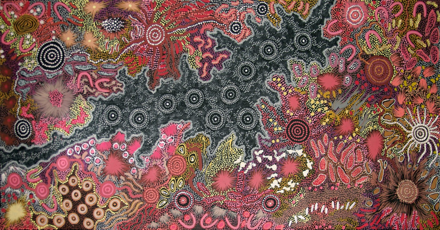 Gabriella Possum Nungurrayi Salt Lake Got Fresh Water Australian Aboriginal Art Painting on canvas GP1801