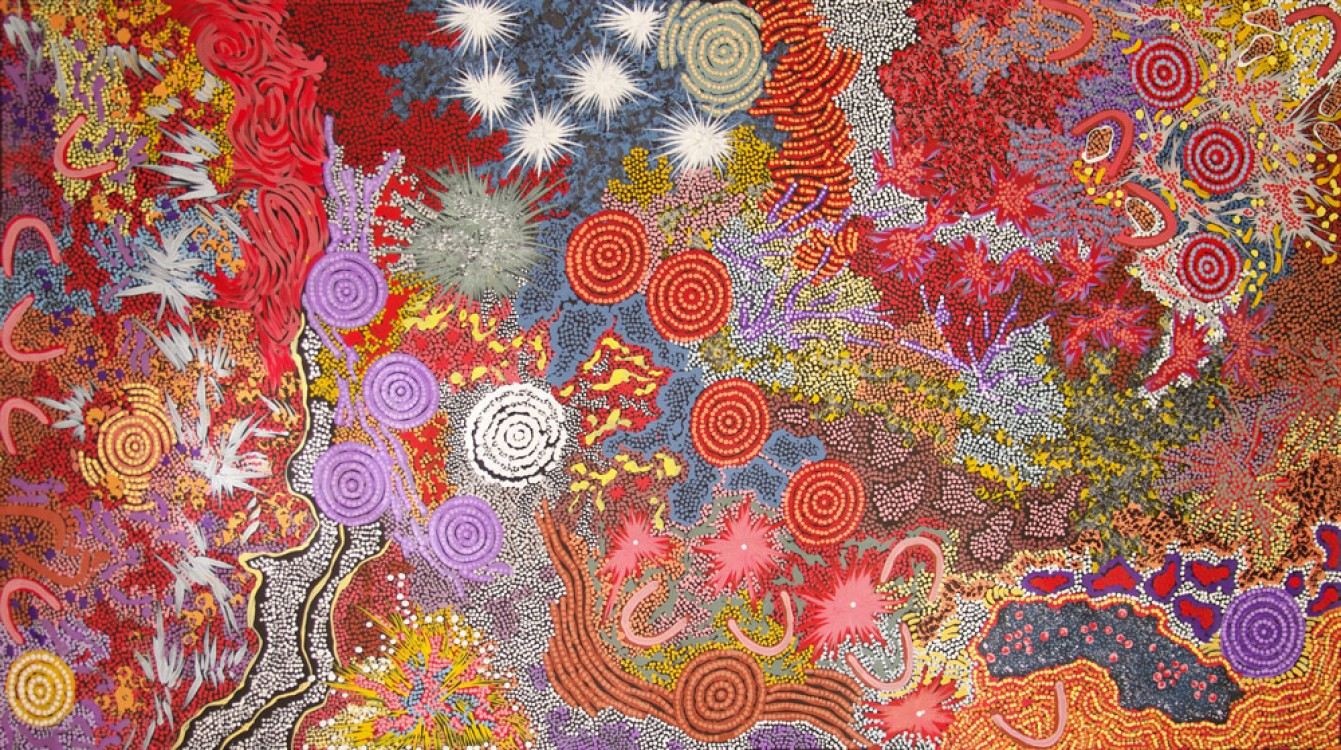 Gabriella Possum Nungurrayi Hunting for Bushtucker Like Yams and Berries Australian Aboriginal Art Painting on canvas GP1804