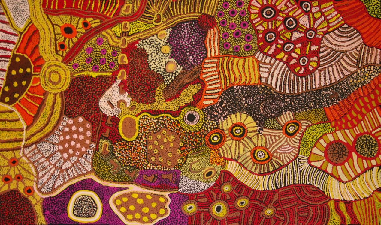 Patricia Baker Tunkin Minma Marlilu Tjukurrpa Australian Aboriginal Art Painting on canvas KB1745