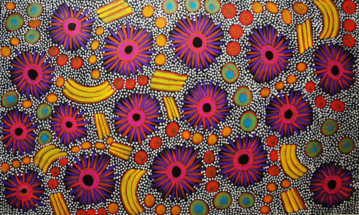 Anna Price Petyarre (Pitjara) Bush Yam Dreaming Australian Aboriginal Art Painting on canvas AP1609