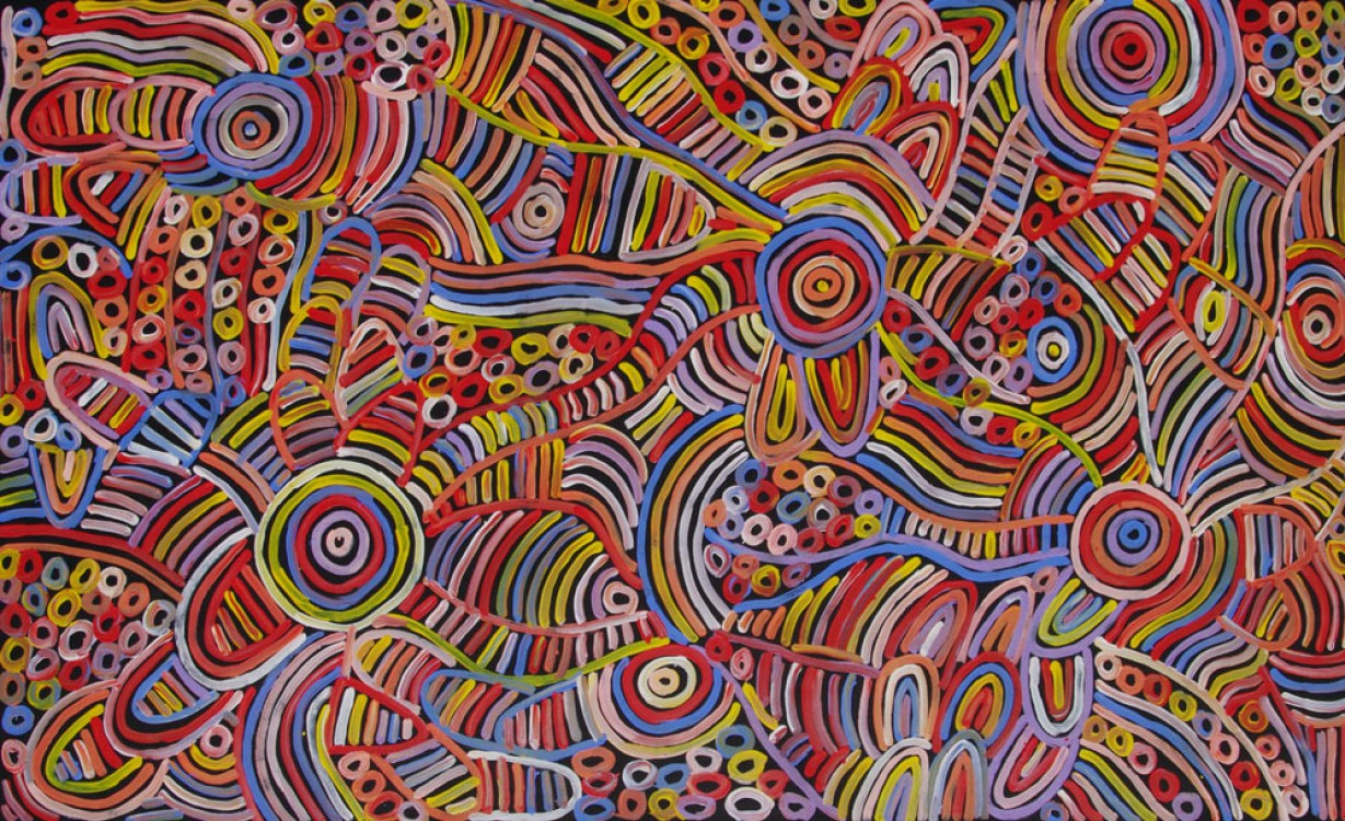 Betty Mbitjana Awelye and Bush Melon Australian Aboriginal Art Painting on canvas BM1932