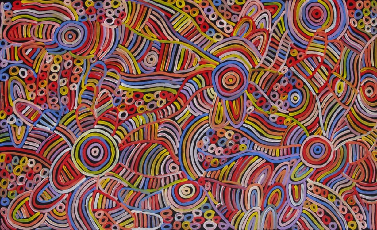 Betty Mbitjana Awelye and Bush Melon Australian Aboriginal Art Painting on canvas BM1932