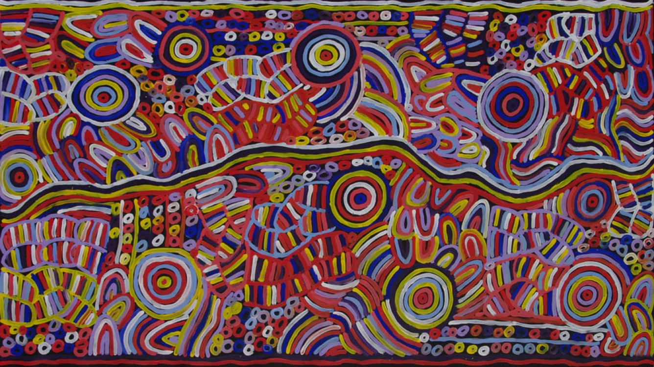 Betty Mbitjana Awelye and Bush Melon Australian Aboriginal Art Painting on canvas BM1935