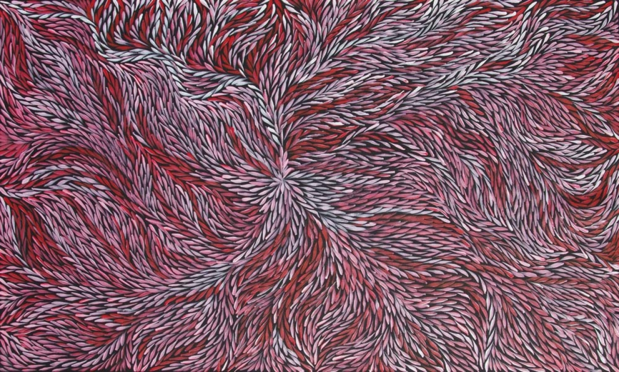 Jeannie Petyarre Bush Yam Leaf Australian Aboriginal Art Painting on canvas JP1942