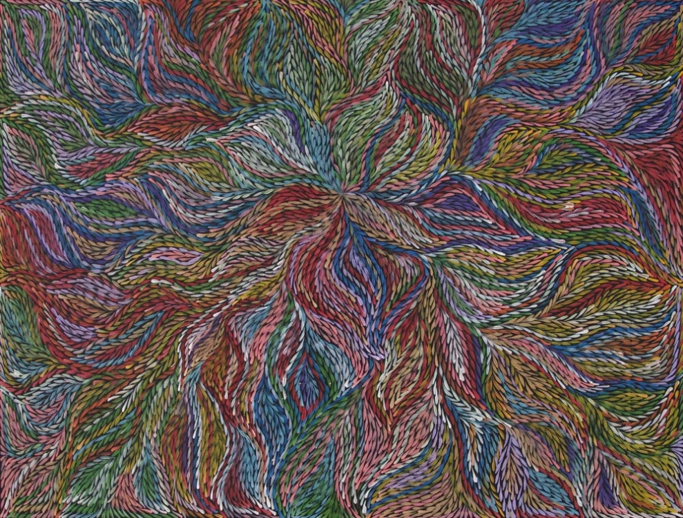 Jeannie Petyarre Bush Yam Leaf Australian Aboriginal Art Painting on canvas JP1955