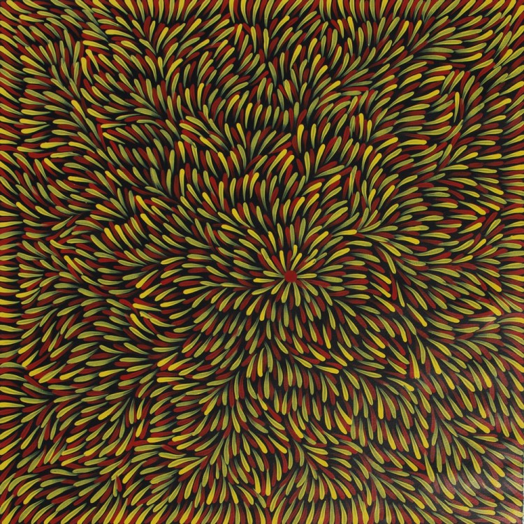 Mary Rumble Pitjara Bush Medicine Leaves Australian Aboriginal Art Painting on canvas MR1858