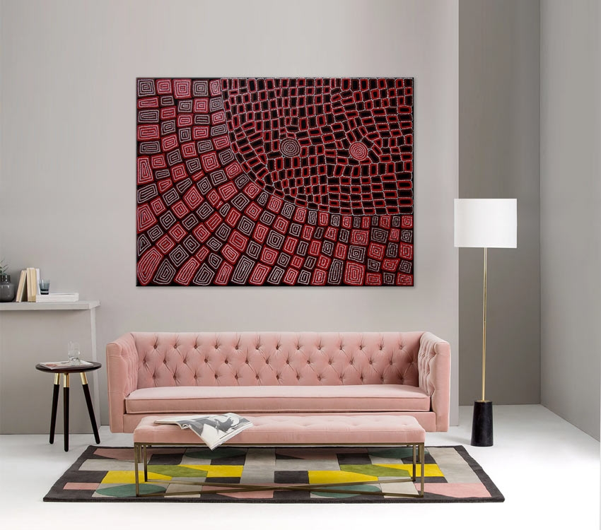 Thomas and Walala Tjapaltjarri Tingari Cycle Australian Aboriginal Art Painting on canvas WT1927-2