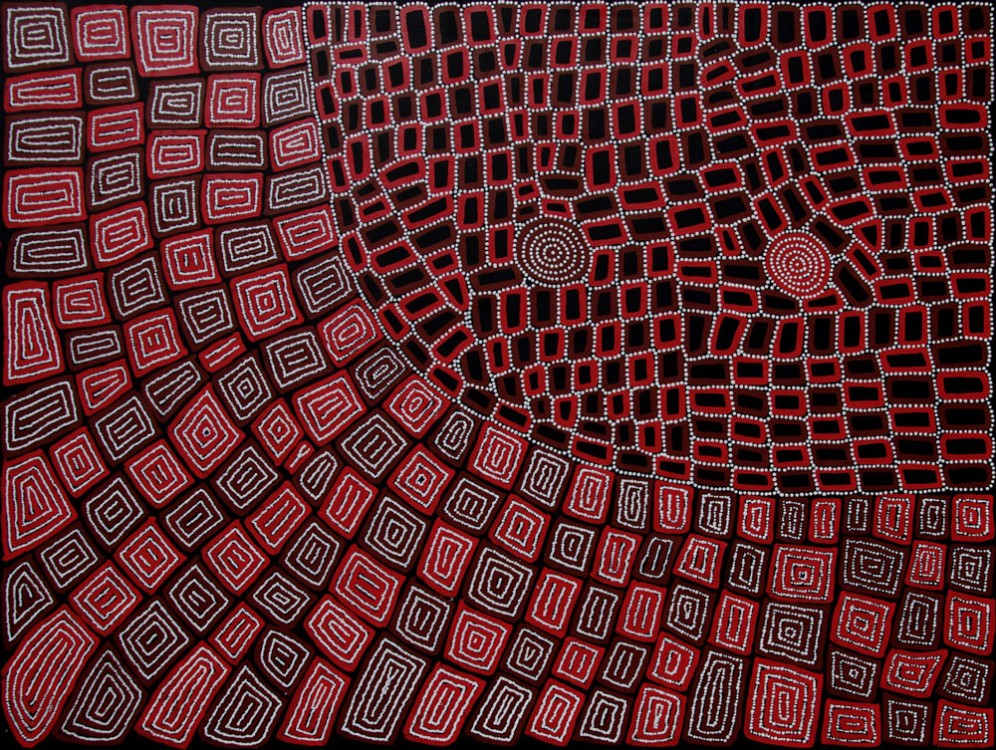 Thomas and Walala Tjapaltjarri Tingari Cycle Australian Aboriginal Art Painting on canvas WT1927