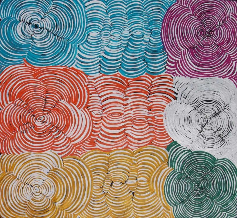 Ruby Daniels Nungala Women's Rockholes Australian Aboriginal Art Painting on canvas RD1941