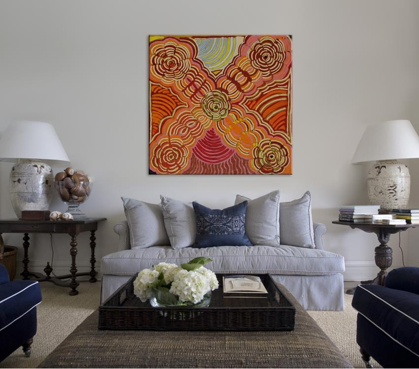 Women's Rockholes Ruby Daniels Nungala Australian Aboriginal Artwork on canvas RD1945