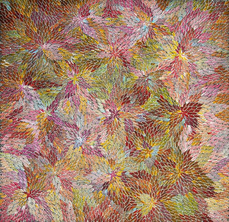 Bernadine Johnson Kamara Bush Medicine Leaves Australian Aboriginal Art Painting on canvas BJ1624