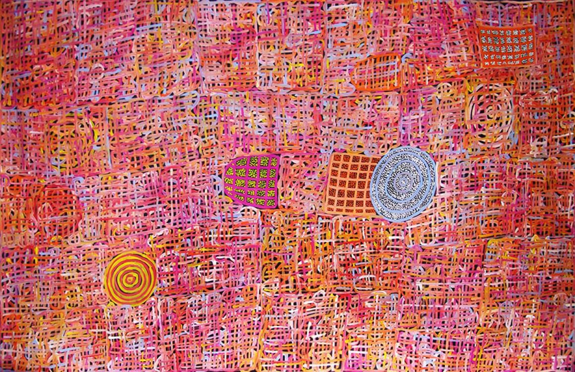 Betty Mbitjana Body Paint Australian Aboriginal Art Painting on canvas BM1647