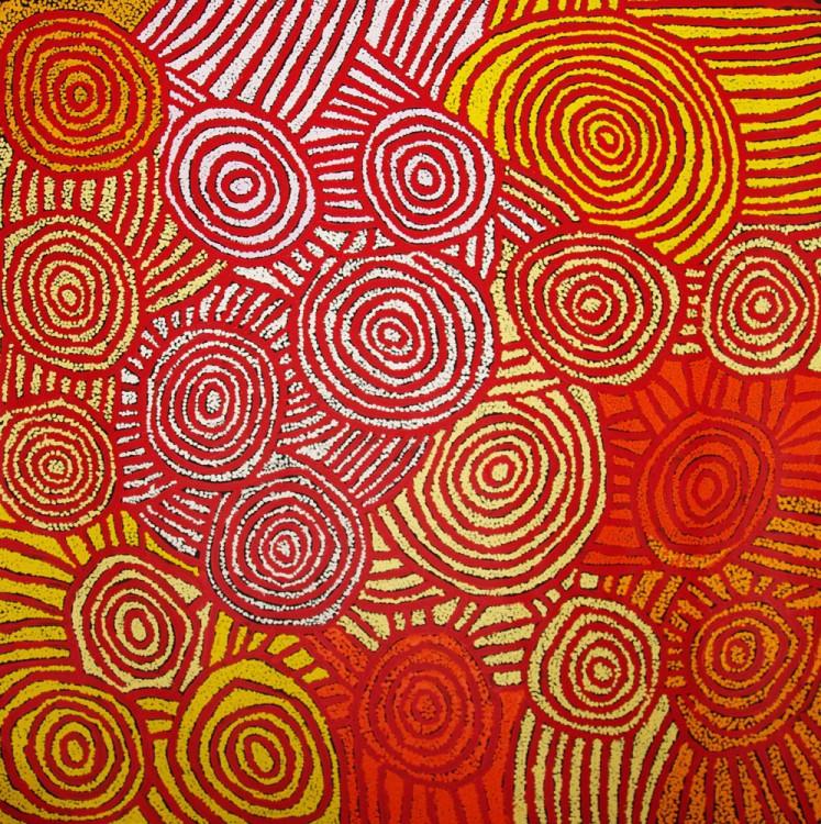 Debra Young Nakamarra Rock Holes Australian Aboriginal Art Painting on canvas DY1686