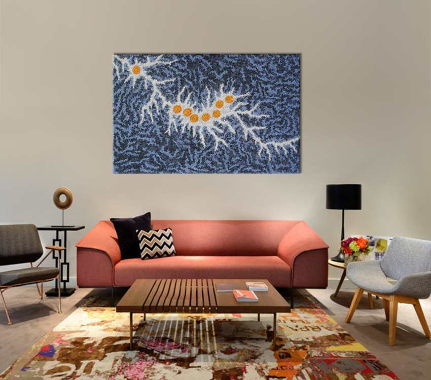 Seven Sisters Dreaming Gabriella Possum Nungurrayi Australian Aboriginal Artwork on canvas GP1964