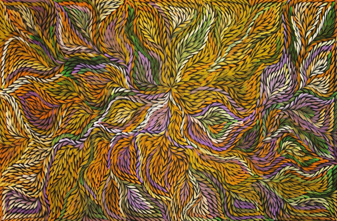 Jeannie Petyarre Bush Yam Flowers Australian Aboriginal Art Painting on canvas JP1705