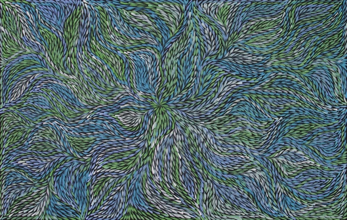 Jeannie Petyarre Bush Yam Leaf Australian Aboriginal Art Painting on canvas JP1957