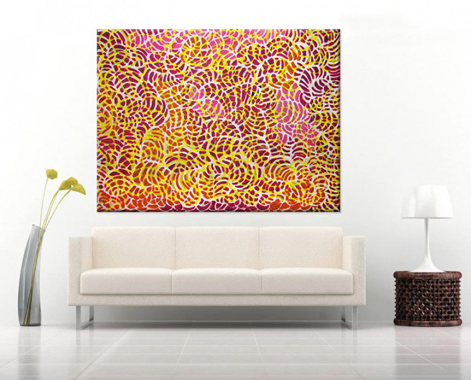 Bush Yam Flowers Jeannie Petyarre Australian Aboriginal Artwork on canvas JP1667