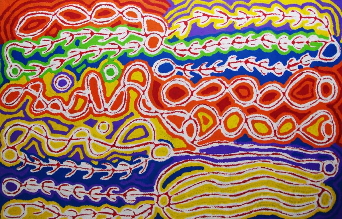 Judy Watson Napangardi Mina Mina Australian Aboriginal Art Painting on canvas JW1606