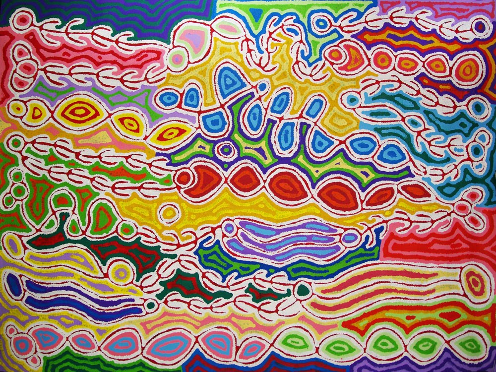 Judy Watson Napangardi Mina Mina Australian Aboriginal Art Painting on canvas JW1657