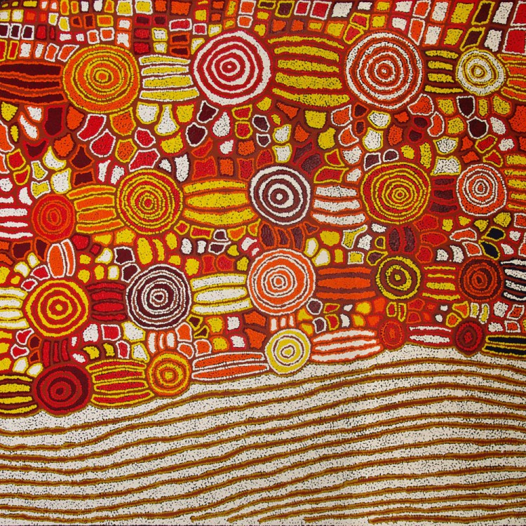 Katherine Marshall Nakamarra Rock Holes Australian Aboriginal Art Painting on canvas KN1688