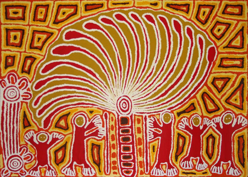 Linda Syddick Napaltjarri Windmill and Spirit Men Australian Aboriginal Art Painting on canvas LS1681