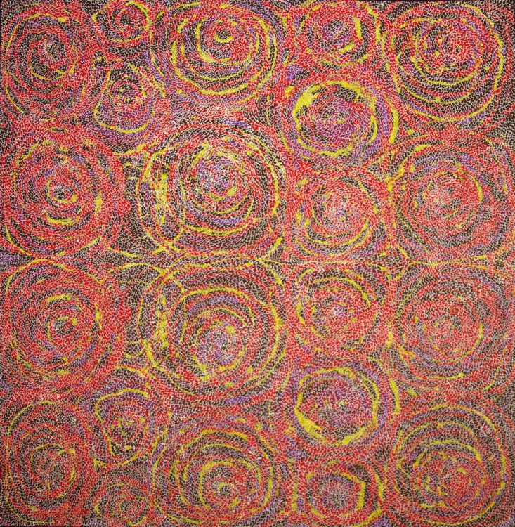 Lucky Morton Kngwarreye Wild Bush Flowers Australian Aboriginal Art Painting on canvas LK1702