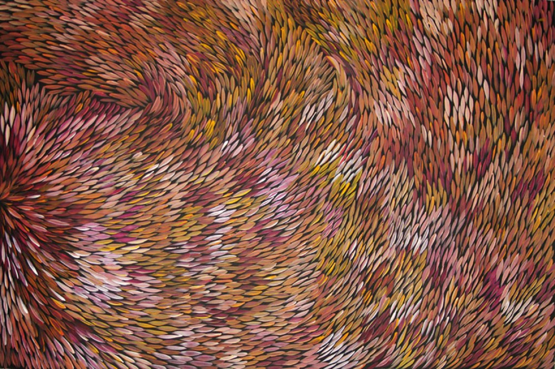 Margaret Scobie Purgarda Bush Medicine Leaves Australian Aboriginal Art Painting on canvas MS1652