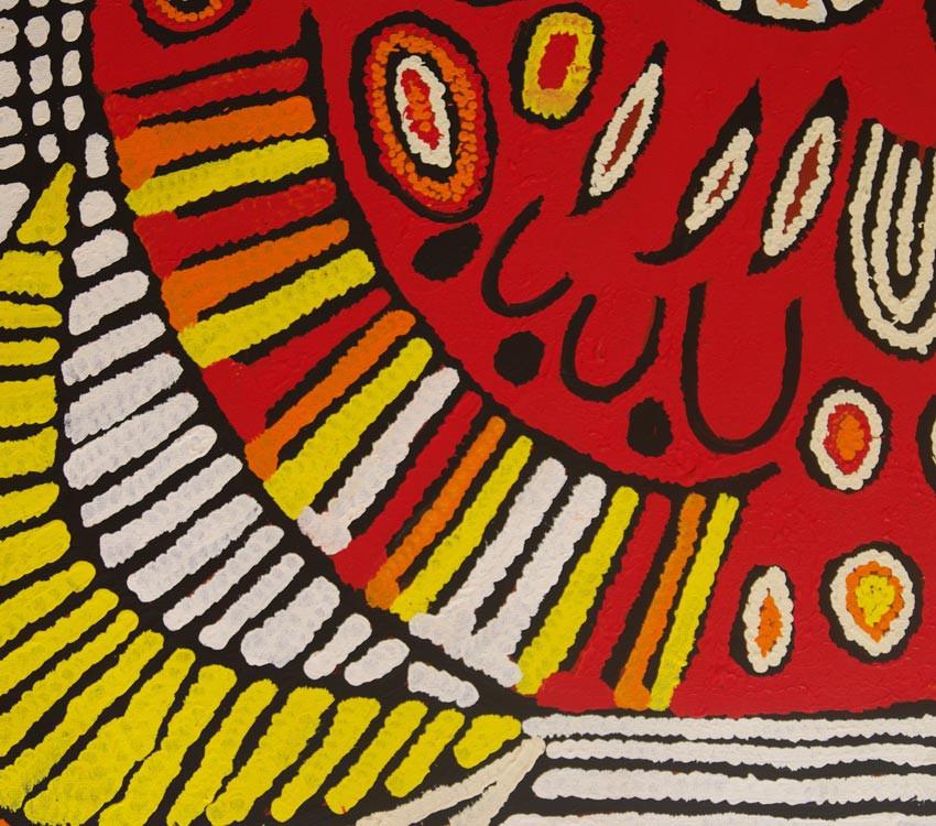 Aboriginal Art Painting on canvas by Narpula Scobie Napurrula Women's Ceremony NS1682