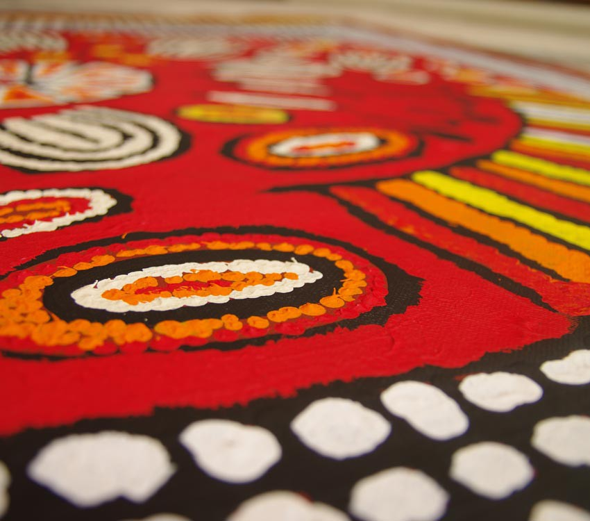 Aboriginal Artwork on canvas by Narpula Scobie Napurrula Women's Ceremony NS1682