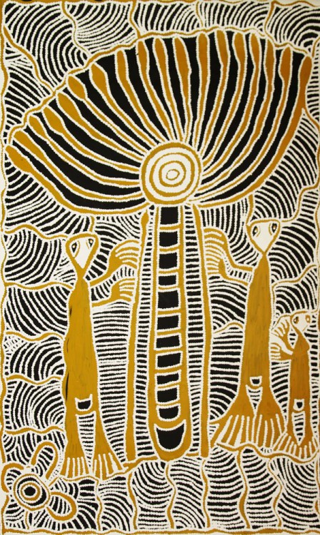 Ruby Daniels Nungala Windmill and Spirit Men Australian Aboriginal Art Painting on canvas RD1683