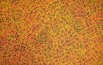 Betty Mbitjana Awelye and Bush Melon Australian Aboriginal Art Painting on canvas BM1827
