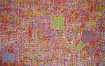 Betty Mbitjana Awelye and Bush Melon Australian Aboriginal Art Painting on canvas BM1844
