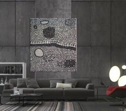 Ngaminya Yinarupa Gibson Nangala (Nungala) Australian Aboriginal Artwork on canvas YN1748
