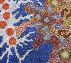 Aboriginal Art Painting on canvas by Gabriella Possum Nungurrayi My Grandmother's Country and Seven Sisters Dreaming GP1903