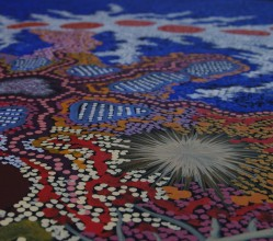 Aboriginal Artwork on canvas by Gabriella Possum Nungurrayi My Grandmother's Country and Seven Sisters Dreaming GP1903