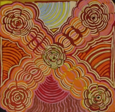 Ruby Daniels Nungala Women's Rockholes Australian Aboriginal Art Painting on canvas RD1945