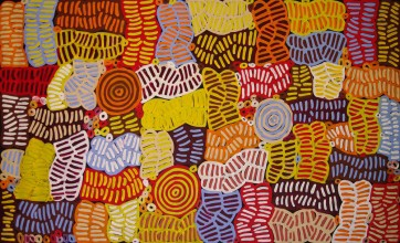 Betty Mbitjana Awelye and Bush Melon Australian Aboriginal Art Painting on canvas BM1719