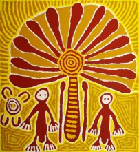 Linda Syddick Napaltjarri Witch Doctor and Windmill Australian Aboriginal Art Painting on canvas LS1629